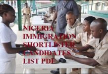 NIGERIA IMMIGRATION SHORTLISTED CANDIDATES