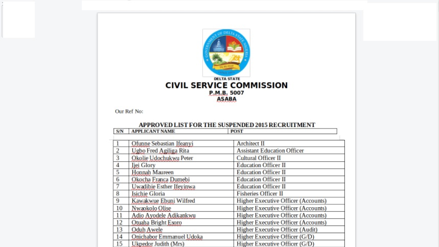 Delta State Civil Service Commission Shortlisted Candidates